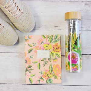 APL women techloom phantom; rifle paper co notebook; anthropologie lulie wallace water bottle