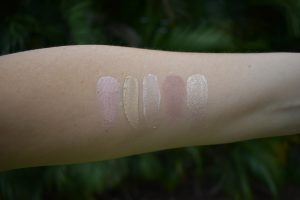 eye primers, Becca corrector swatch, Fenty eye primer swatch, Mac painterly bare study swatch, nars eyeshadow base swatch
