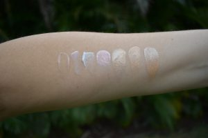 Dior face and body swatch, erborian glow swatch, Sisley instant éclat swatch