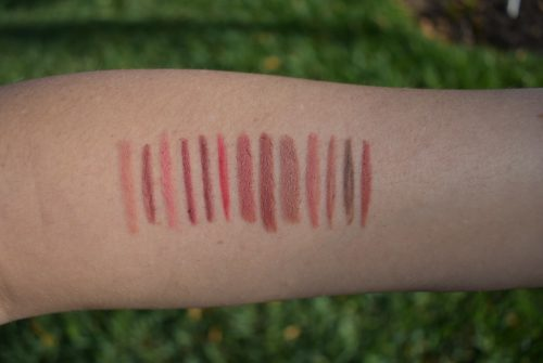Marc Jacobs Cream & Sugar swatch, bite lip pencil swatch, nudestix swatches, Charlotte tilbury lip cheat swatch, Charlotte tilbury pillow talk swatch, Mac whirl stone swatch, Kjaer Weis mauve swatch
